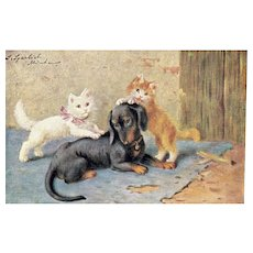 Adorable Artist Signed Orange and White Cats Wearing Bows Playing With Dachshund Puppy Postcard