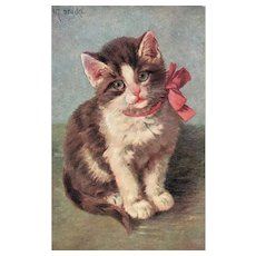 Series 327 Adorable Artist Signed Brown and White Kitten Wearing Pink Bow Postcard