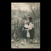 EAS Real Photo Easter Farm Children Kiss Hen with chicks hand colored
