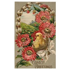 Beautiful Gold Gilt Embossed Vintage Easter Postcard Chick & Flowers