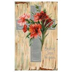 Ellen Clapsaddle vintage Easter Cross Postcard Flowers
