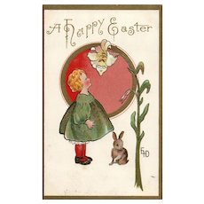 1910 Artist Signed Fantasy Easter Postcard little girl Bunny Rabbit and flower