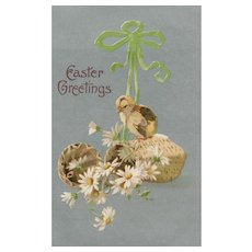 Elegant and simple Easter chick Vintage postcard greeting