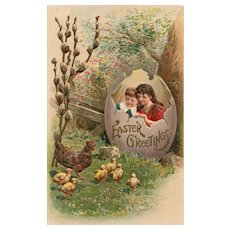 Role Reversal Children in hatched eggs watched by Hen and Chicks vintage postcard