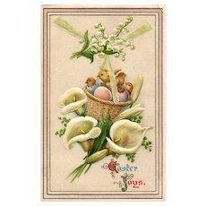 Davidson Brothers Series 2408 Chicks in a basket Lily Vintage  Easter Postcard