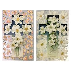 Pair of gorgeous John Winsch Easter Cross with flowers vintage postcards