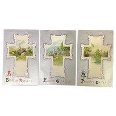 Lot of 3 Gorgeous John Winsch Easter Cross vintage postcards