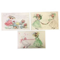 Lot of 3 Easter Bonnet girls Geese Flowers Vintage Postcards