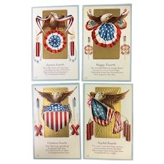 Set of 4 Vintage Patriotic Fourth of July Postcards Eagle Fireworks Flag Banners
