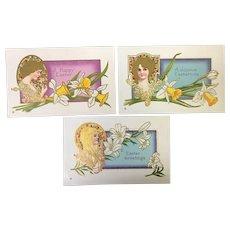 Lot of 3 Stetcher Series 307 Art Nouveau Vintage Postcards Stain glass women Flowers