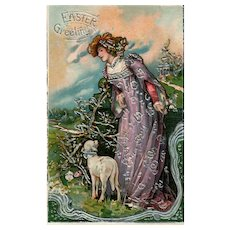 Early silver embossed Gorgeous Easter woman with lamb vintage Postcard
