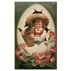 PFB 1908 vintage Easter Postcard Series 6727 girl with hen Easter egg