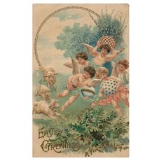 Easter Angels frolick with sheep Embossed vintage postcard