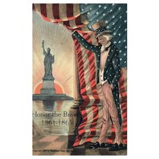 1907 Honor the Brave Uncle Sam American Flag Statue of Liberty Patriotic Civil War Postcard