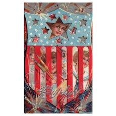 Nash Fourth of July Series no 4 Patriotic Vintage Postcard Children Shield Fireworks