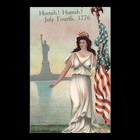 1907 Miss Liberty & Statue of Liberty Patriotic Vintage Postcard