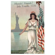 1907 Miss Liberty & Statue of Liberty Patriotic Vintage Postcard
