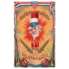 Patriotic Fourth of July Uncle Sam Firecracker Cannon Vintage Postcard