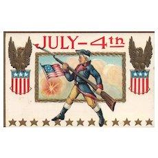 Revolutionary War themed Patriotic Fourth of July Postcard