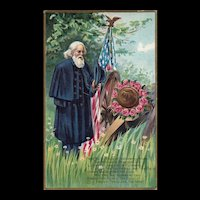 1911 Decoration Day Series no 1 Soldier pays respect with wreath on Cannon Patriotic Postcard