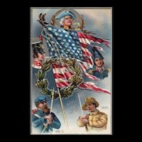 Decoration / Memorial Day Series No 3 Revolutionary War to WWI Soldiers With American Flag Patriotic