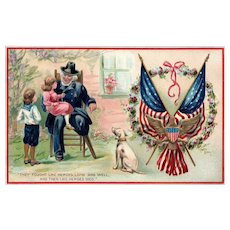 Raphael Tuck Decoration Day Series 158 crippled Veteran Soldier with children and dog Patriotic Postcard