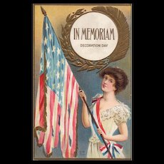 In Memoriaum Decoration Day Tattered American Flag held by woman vintage postcard