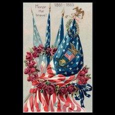 Raphael Tuck Decoration Day Series 107 Patriotic Postcard for Civil War 1861-1865
