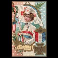 1883 Woman's Relief Corps Patriotic Nurse Vintage Postcard Decoration Day Series no 2