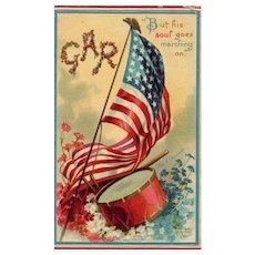 Artist Signed Ellen Clapsaddle GAR Drum American Flag Vintage Postcard