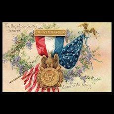 1908 Raphael Tuck Decoration /Memorial Day Vintage Postcard Son's of Veterans Civil War