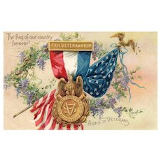 1908 Raphael Tuck Decoration /Memorial Day Vintage Postcard Son's of Veterans Civil War