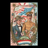 Young and Old Soldier Pay Tribute to each other Memorial / Decoration Day Patriotic Postcard