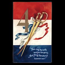 Signed Ellen Clapsaddle Patriotic Fourth of July Postcard Swords