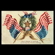 Decoration Day / Memorial Day vintage Postcard wreath Flags eagle postcard