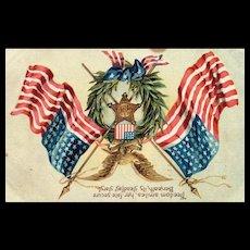 Decoration Day / Memorial Day vintage Postcard wreath Flags eagle postcard