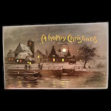 Hold To The Light A Happy Christmas Town On The Water Postcard