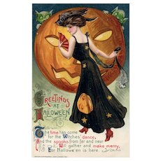 Fantastic John Winsch Samuel Schmucker Halloween Vintage Postcard