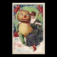John Winsch Samuel Schmucker Halloween -ish Black Witch Goblins Pumpkin postcard