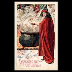 1912 John Winsch Samuel Schmucker Halloween Red Caped Witch Goblins vintage postcard