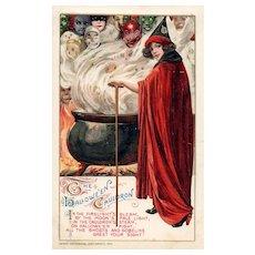 1912 John Winsch Samuel Schmucker Halloween Red Caped Witch Goblins vintage postcard