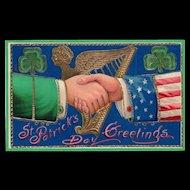 Patriotic St Patricks Day Vintage Postcard Gold Gilt Gel Samson Brothers 7041