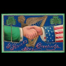 Patriotic St Patricks Day Vintage Postcard Gold Gilt Gel Samson Brothers 7041