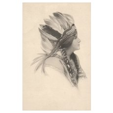 1911 Artist Signed Schlesinger Brothers Beautiful American Indian Maiden with Headress Postcard