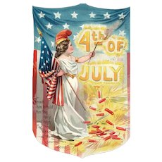 Raphael Tuck Independence Day Series 109  Miss Liberty Fourth of July  American Flag
