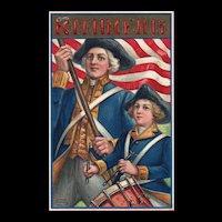 1909 Fourth of July Revolutionary War Soldiers Garre Published 51668 Vintage postcard
