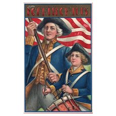 1909 Fourth of July Revolutionary War Soldiers Garre Published 51668 Vintage postcard