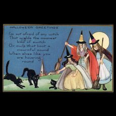 Whitney Halloween black cats with witches and full moon vintage postcard