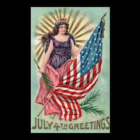 July 4th Independence Day Lady Liberty vintage Patriotic Postcard