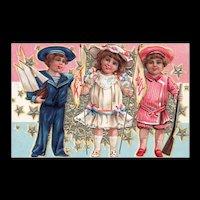 Nash Fourth of July Series 4 Patriotic Vintage Postcard Children pose